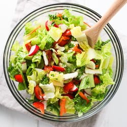Romaine Salad with Chopped Veggies and Feta