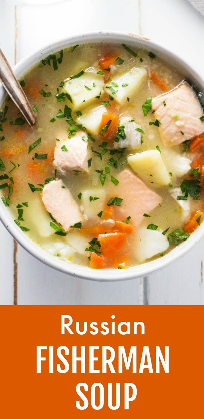 This Russian Fisherman Soup is very easy to make using my simplified method. This recipe calls for salmon and cod filets and you can use other types of fresh fish. Great for a meal-prep. Doesn't take a long time to cook. This recipe is dairy-free. #fishsoup #recipe #cleaneating