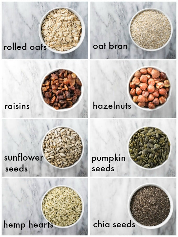 Collage of the muesli ingredients.
