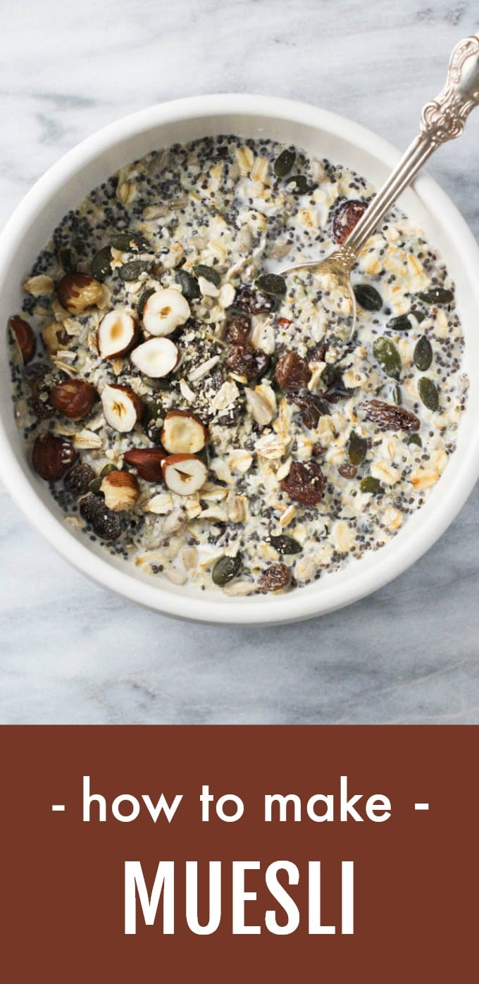 Learn how to make a homemade DIY muesli mix. You can eat it for breakfast or as a snack. This healthy recipe is easy to customize using the basic muesli formula. Perfect for busy mornings. #muesli #recipe #healthy #cleaneating