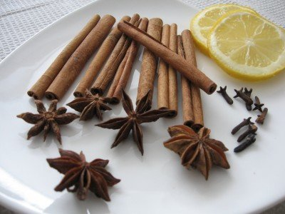 Chai spices on a plate.