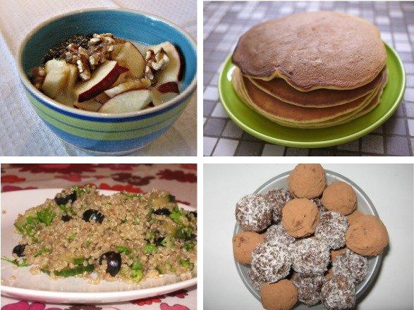 Collage of dishes prepared using quinoa.