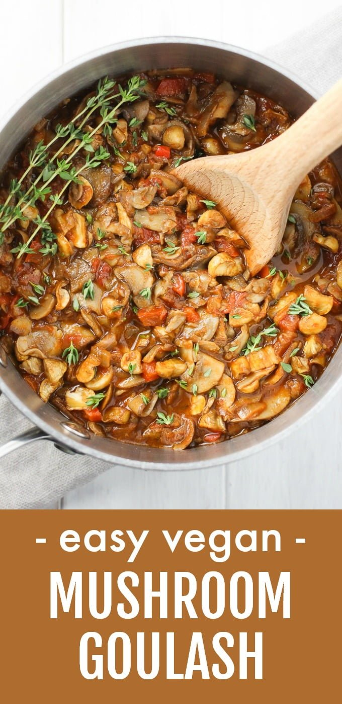 This vegan mushroom goulash makes a perfect healthy dinner. It can be served as a spaghetti sauce or over grains. This recipe comes together in just a few easy steps and is perfect for meal prep. Very filling and comforting. Gluten-free. #mushrooms #recipe #goulash #vegan #plantbased #mealprep #healthy