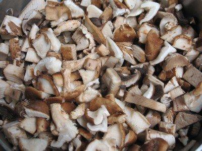 Chopped mushrooms in a frying pan.