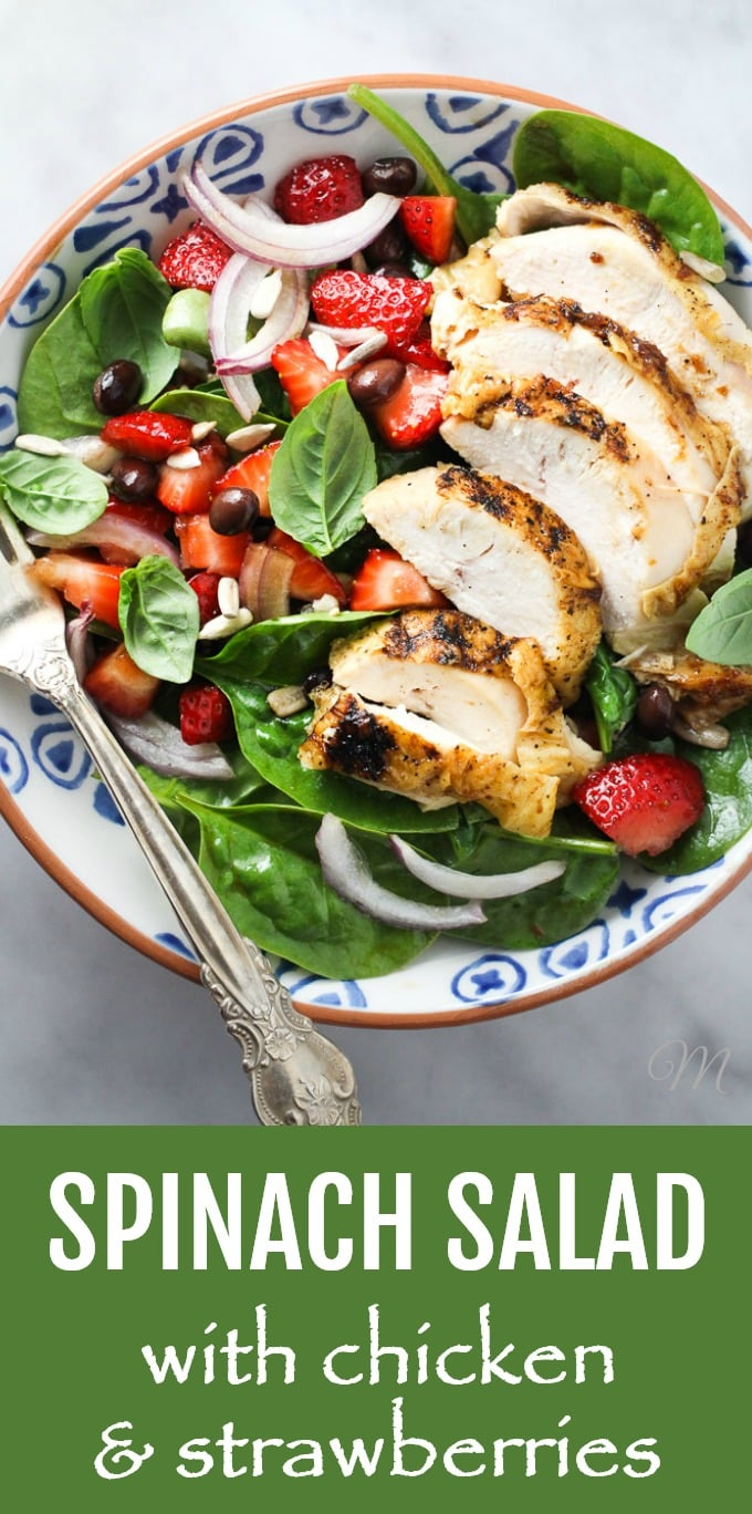 This spinach salad with chicken and strawberries is light and filling at the same time. This healthy salad is very easy and quick to make. If you have some leftover chicken on hand, you can have it ready in just a few minutes. Serve it as a main dish for lunch or dinner or skip the chicken and make a side salad instead. High in protein, gluten-free, dairy-free, grain-free. #spinach #strawberries #chicken #salad #recipe #highprotein #cleaneating #glutenfree #grainfree #dairyfree