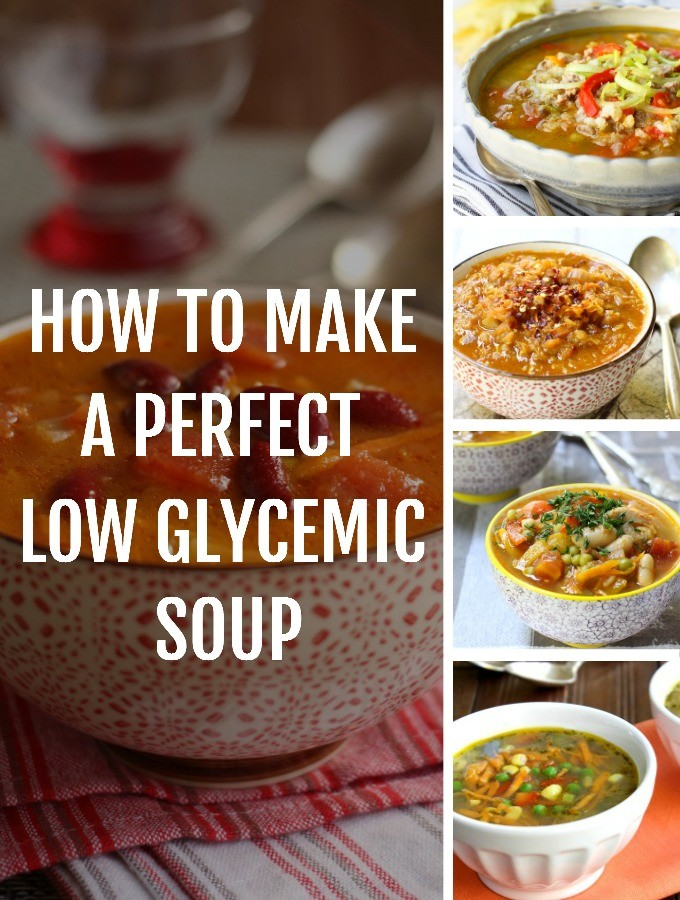 Collage of low glycemic soups.
