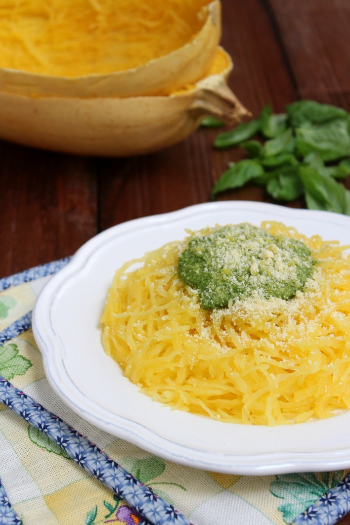 Spaghetti Squash with Basil Pesto