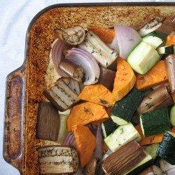 Roasted Veggies with Arugula Pesto