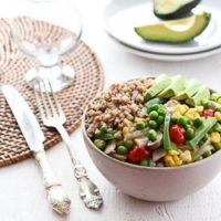 Chicken Stew Served with Buckwheat and Avocado