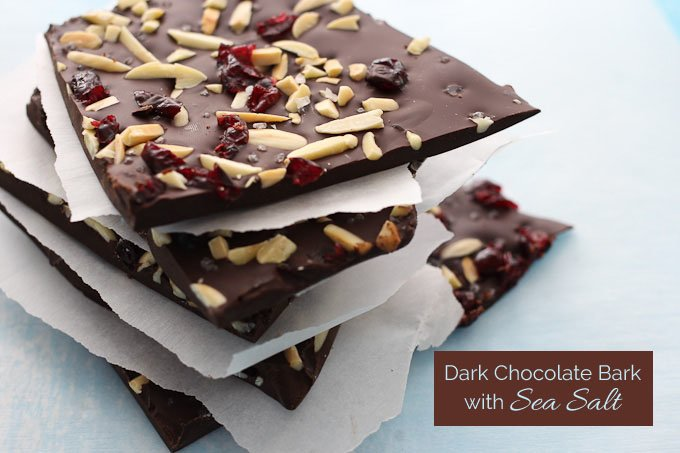 Close up of the dark chocolate bark chunks.