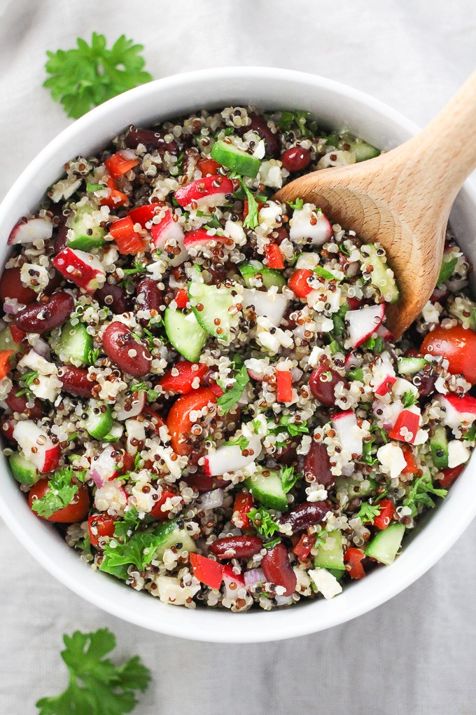 Mediterranean Quinoa Salad with Red Beans and Feta