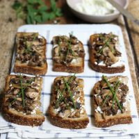 Goat Cheese and Mushroom Crostini