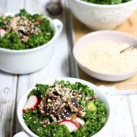 Kale Salad with Mushrooms and Ginger Dressing