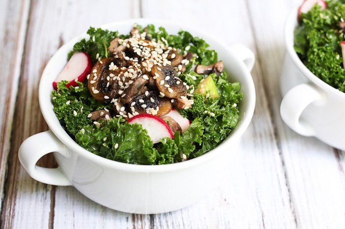 Kale Salad with Warm Mushrooms v