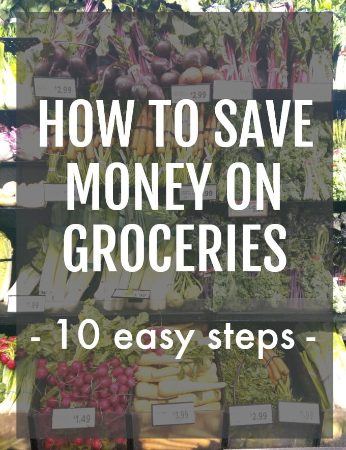 Grocery store shelf with an overlay saying How to Save Money on Groceries.