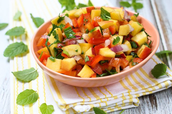 Peach salsa in a bowl.