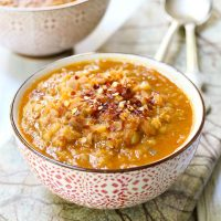 Spicy Red Lentil Soup with Veggies