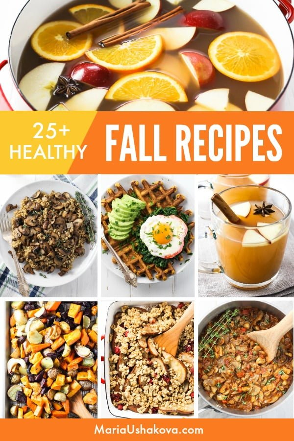 Collage of healthy fall recipes.