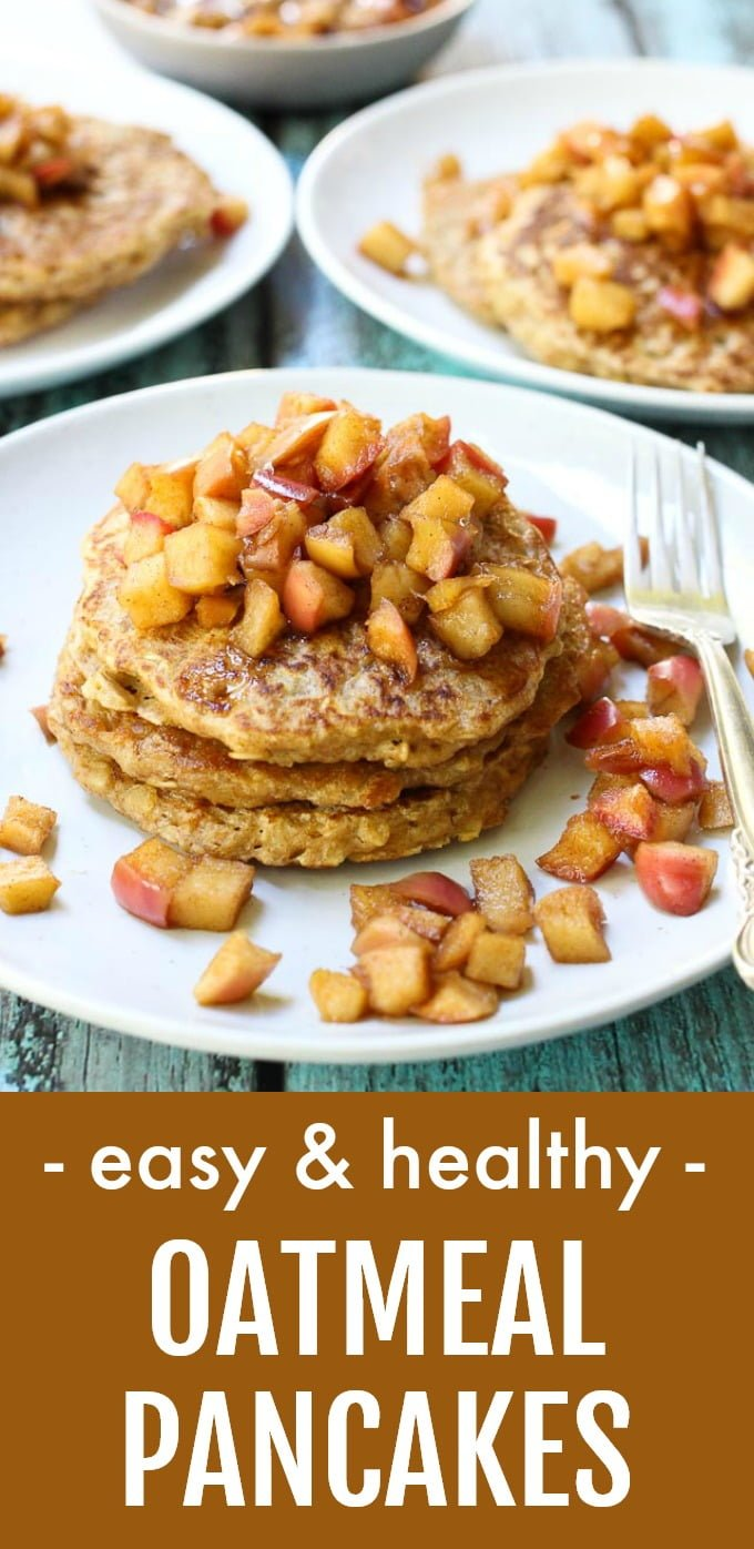 These healthy oatmeal pancakes are made with old-fashioned rolled oats and taste just like your favorite oatmeal. They are very easy to make, and the best part is that they are served with a delicious apple topping. #pancakes #oatmeal #recipe #cleaneating