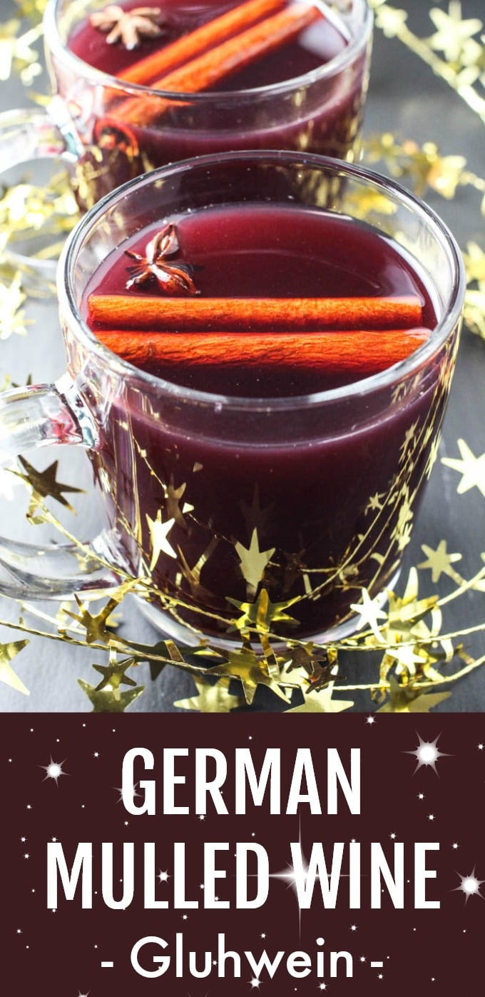 Gluhwein is German spiced mulled wine. This hot Christmas drink is very easy to make following the detailed instructions provided in this blog post. Here you will find 3 recipes for red, white, and non-alcoholic Gluhwein. You will also learn tips and tricks for making the best possible holiday drink. #mulledwine #recipe #christmas #german