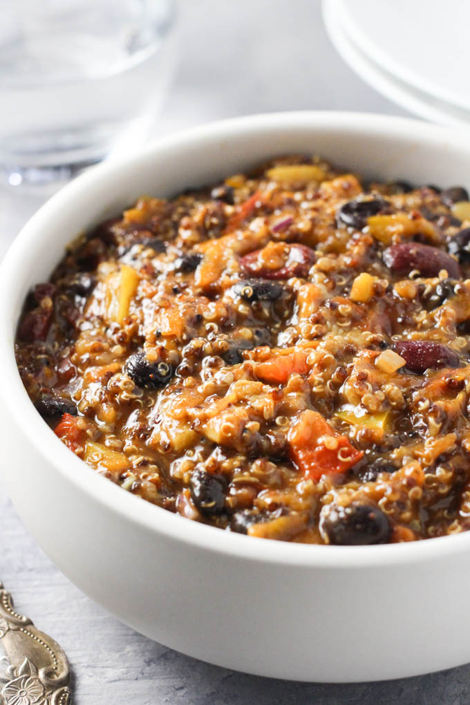 Close up of a bowl of quinoa chili.