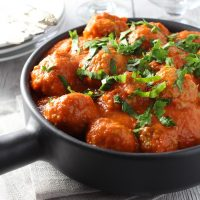 Healthy Turkey Meatballs in Red Pepper Sauce