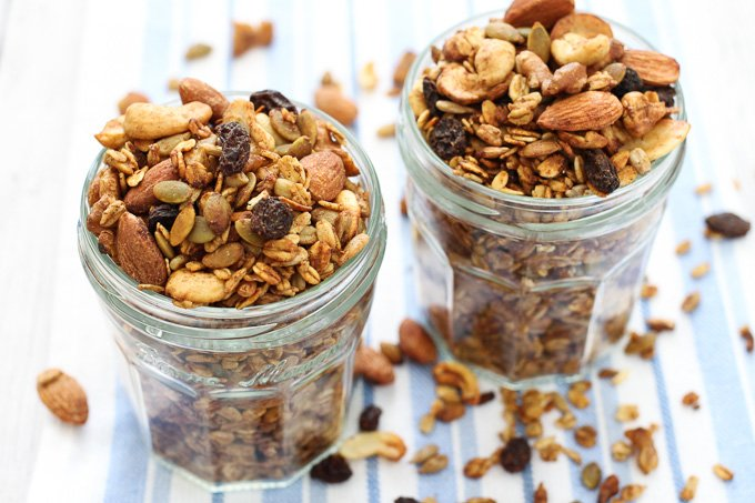Sugar free granola in glass jars.