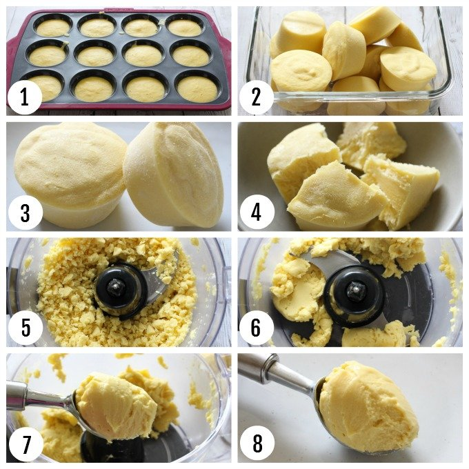 Step-by-step photos on how to make no-churn ice cream.