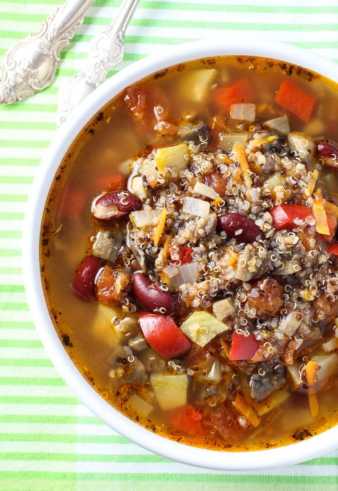 Mushroom and Quinoa Minestrone Soup