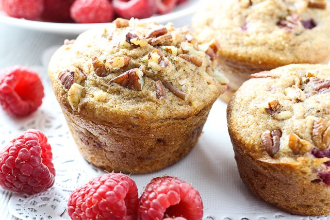 Close up of the spelt raspberry muffins.