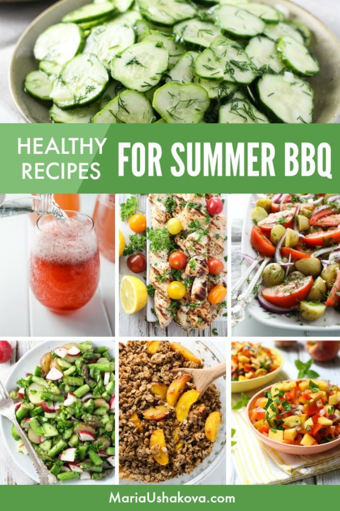 Picture collage of recipes on the clean eating BBQ menu.