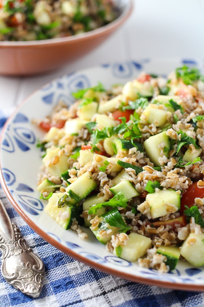 Zucchini tabbouleh salad on a plate.