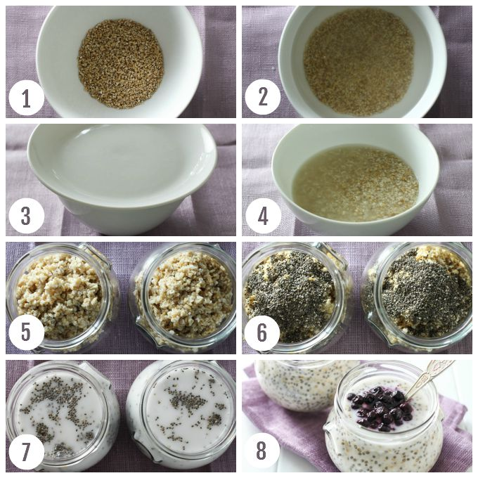 Collage with step by step instructions on how to make steel cut oats.