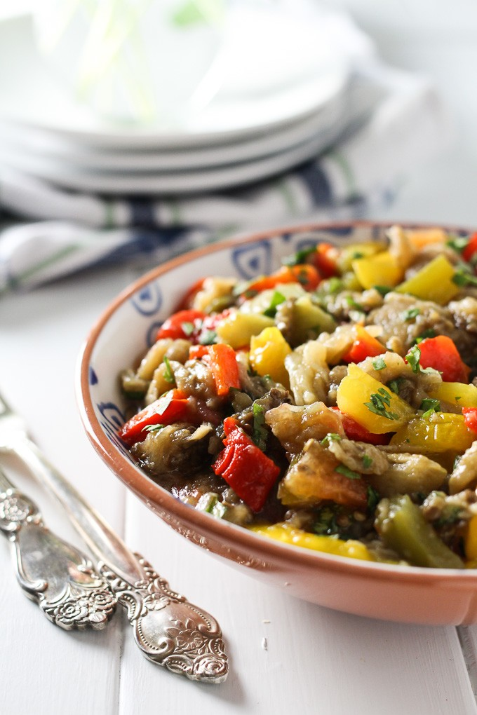Mediterranean Roasted Eggplant Salad | MariaUshakova.com
