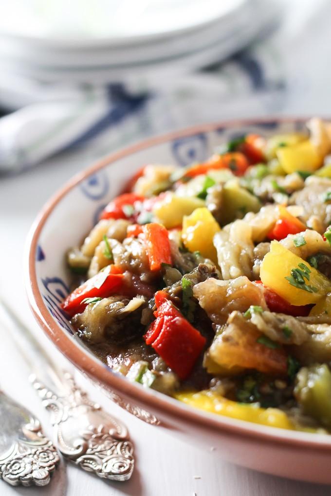 Mediterranean Roasted Eggplant Salad