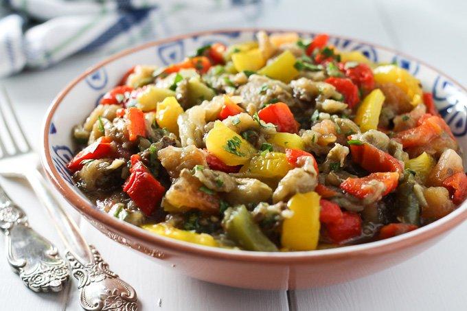 Mediterranean roasted eggplant salad in a bowl.