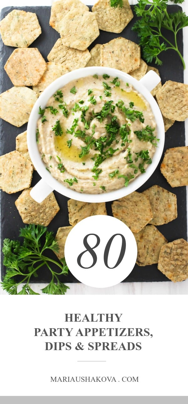 Dip with crackers and a text overlay saying: 80 party appetizers, dips, and spreads