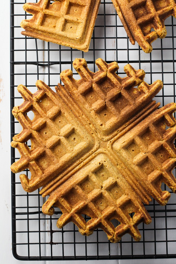Top view of Healthy Sweet Potato Waffles on a cooling rack.