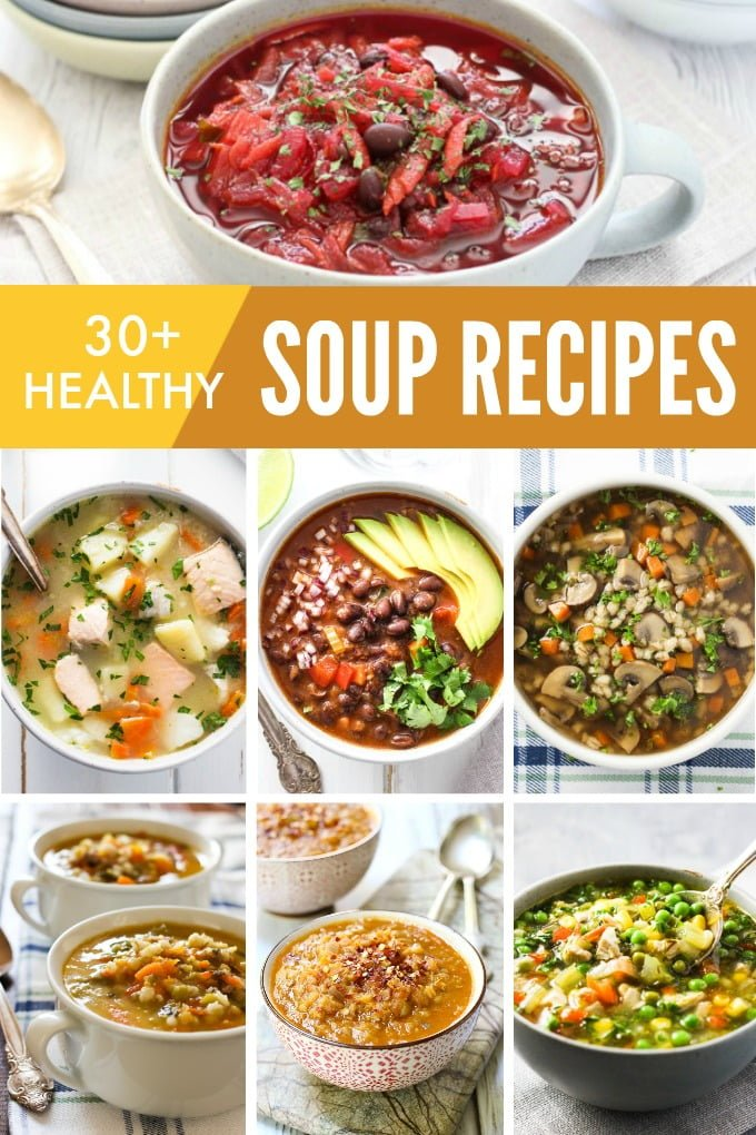 Collage of easy healthy soups for fall and winter.