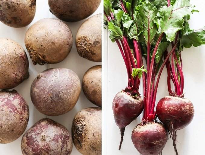 @ side-by-side images of beets - loose beets on the left and beets with greens attached on the right.
