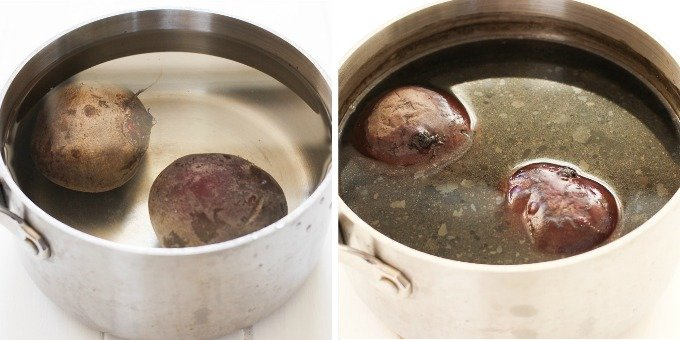 Two side-by-side images of beets in a pot filled with water.