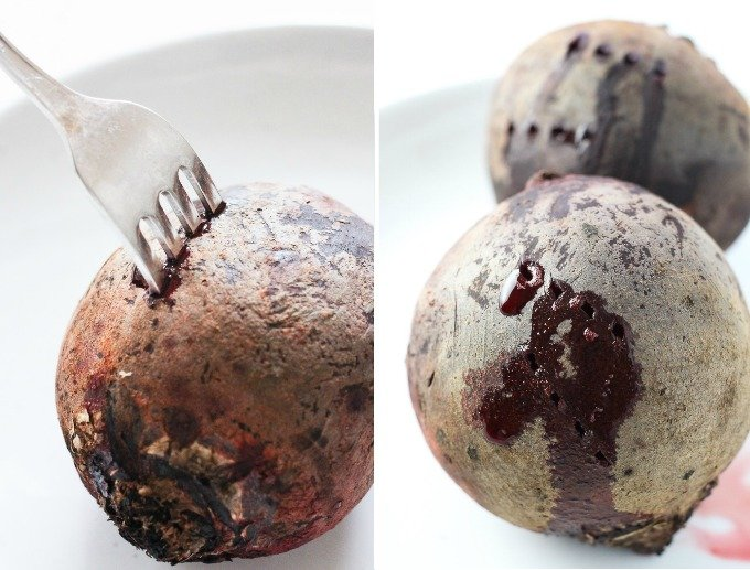 Two side-by-side images of beets being tested for doneness. On the left is a cooked red beet with a fork inserted into it. On the right are two beets with fork wholes in the skin.