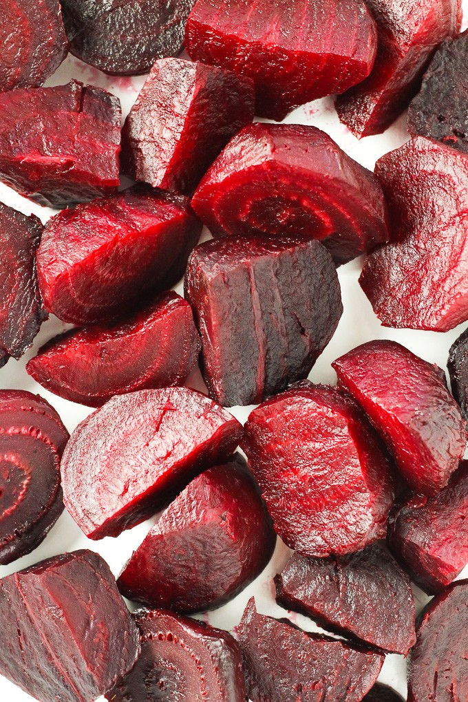 Close-up top view of cooked beet slices.