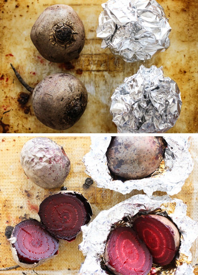 Top view of roasted beets. On the left are beets without foil, on the right are beets in foil.