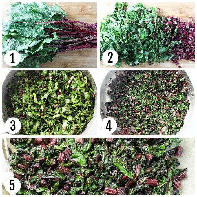 Step-by-step pictures showing how to chop and cook beet greens.