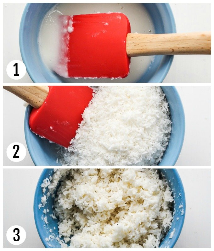 Step-by-step pictures for mixing the coconut paste with the rest of shredded coconut.