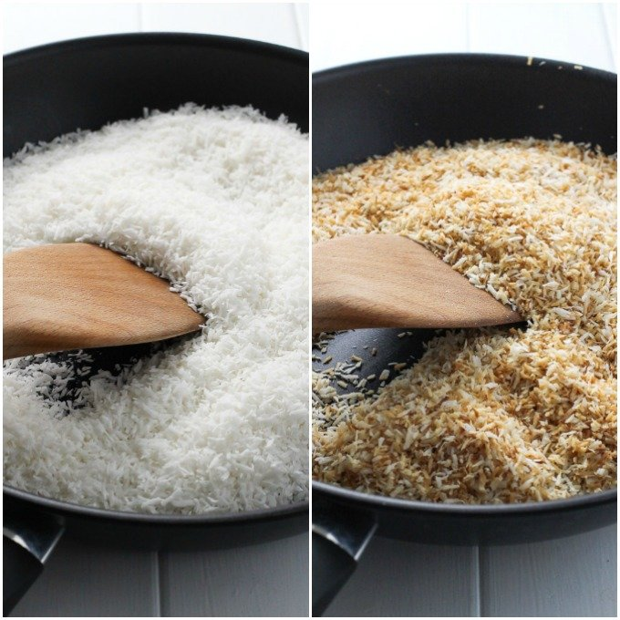 2 side-by-side pictures of shredded coconut in black pan: on the left - white shredded coconut, on the right - toasted shredded coconut.