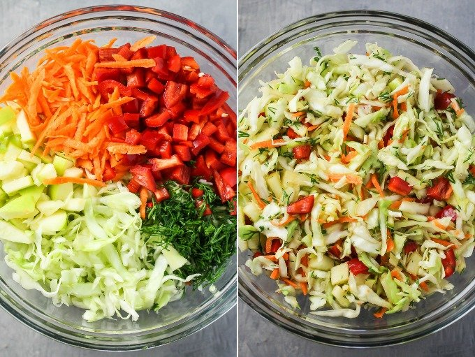 Cabbage salad in large salad bowls.