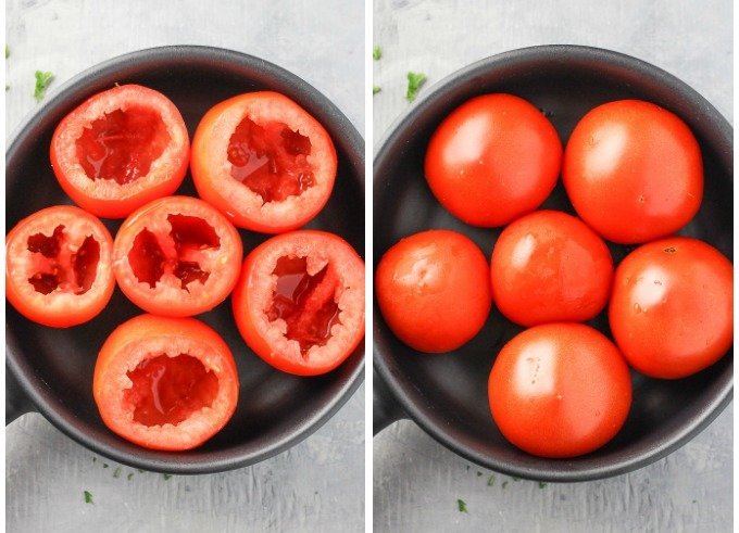 Two side-by-side top view shots of tomatoes in a black pan. On the left, tomatoes with their tops cut off and seeds cleaned out. On the right, tomatoes placed cut side down.