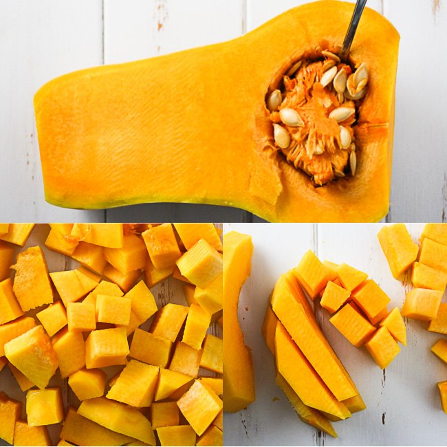 A top view of a butternut squash cut in half and some cubed butternut squash.